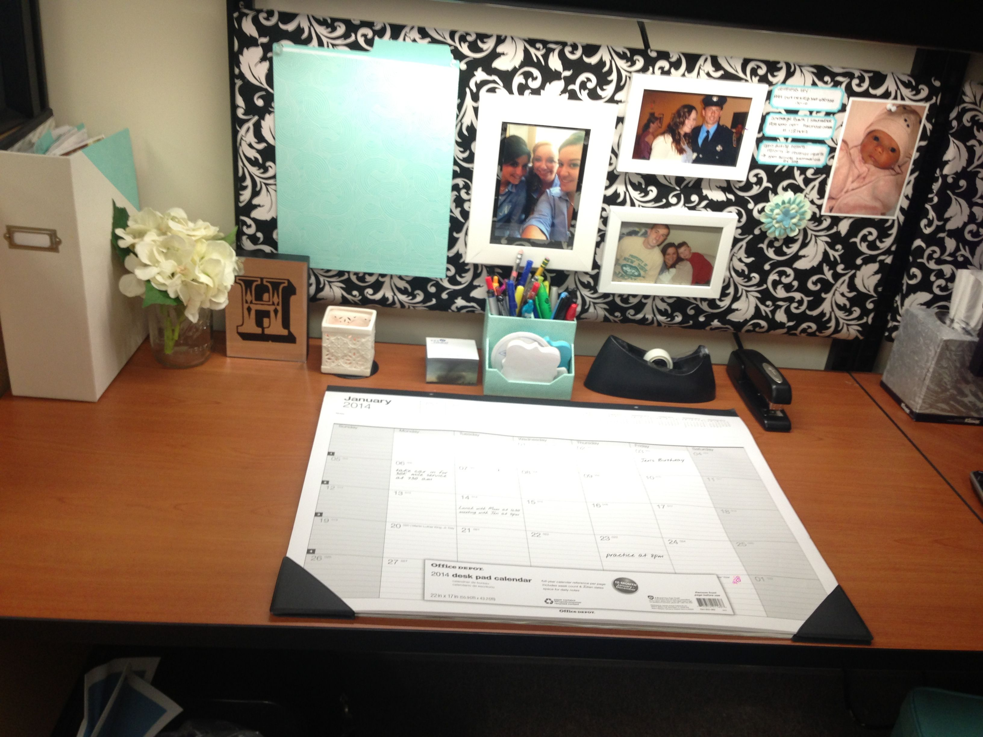 Office cubicle makeover diy ballin 39 on a budget Cubicle bulletin board ideas