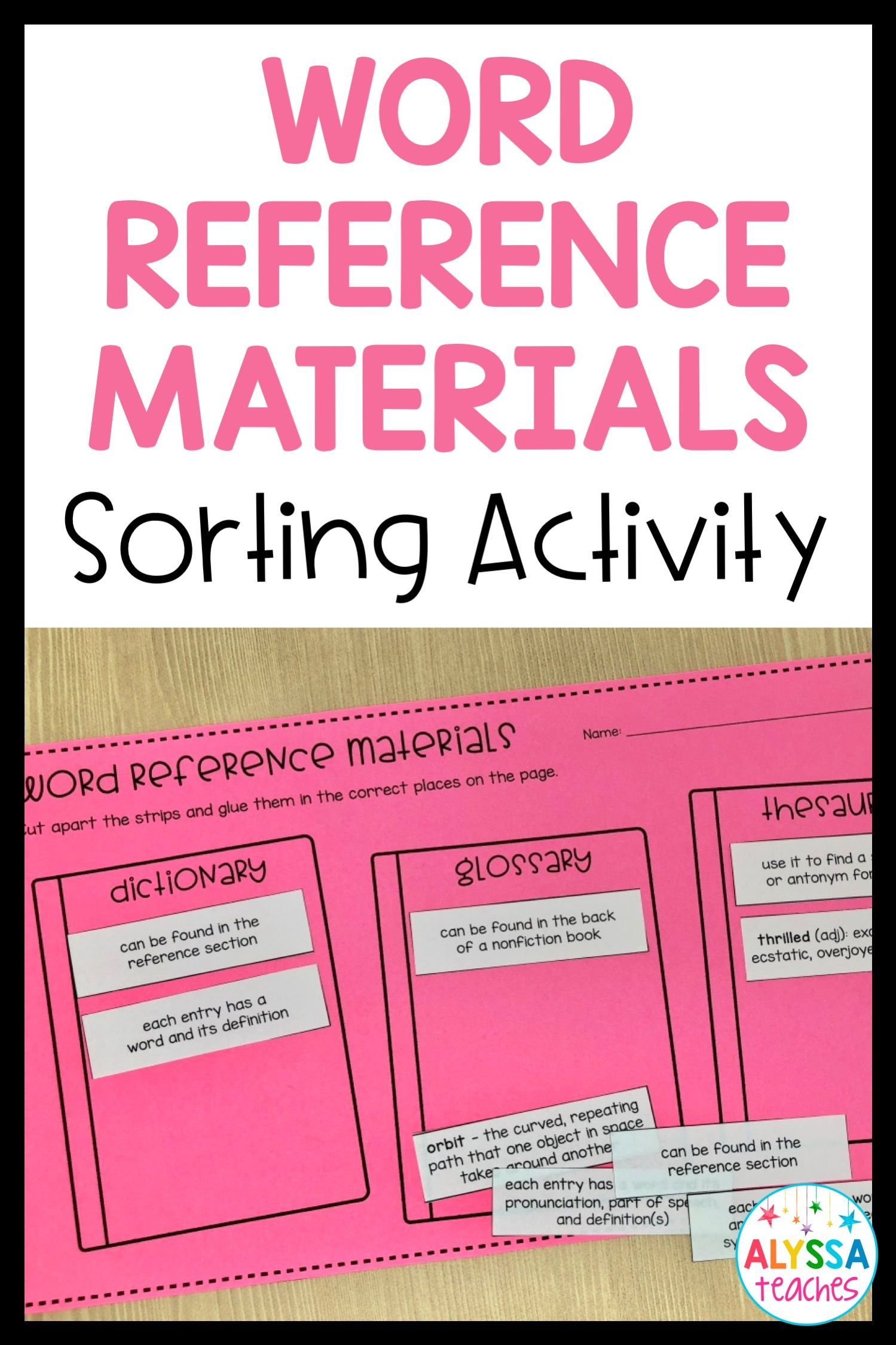 Word Reference Materials Sort