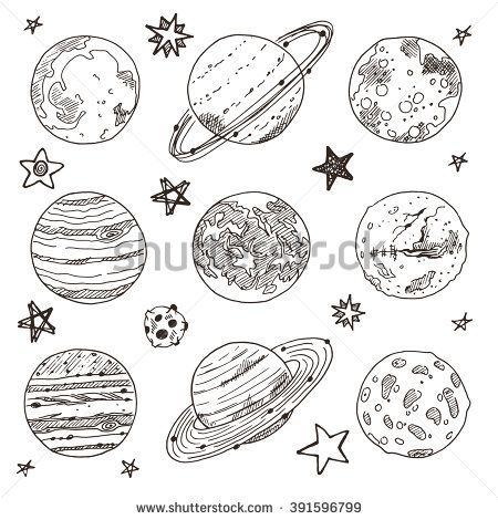 Set Of Doodle Planet Hand Drawn Vector Illustration Solar