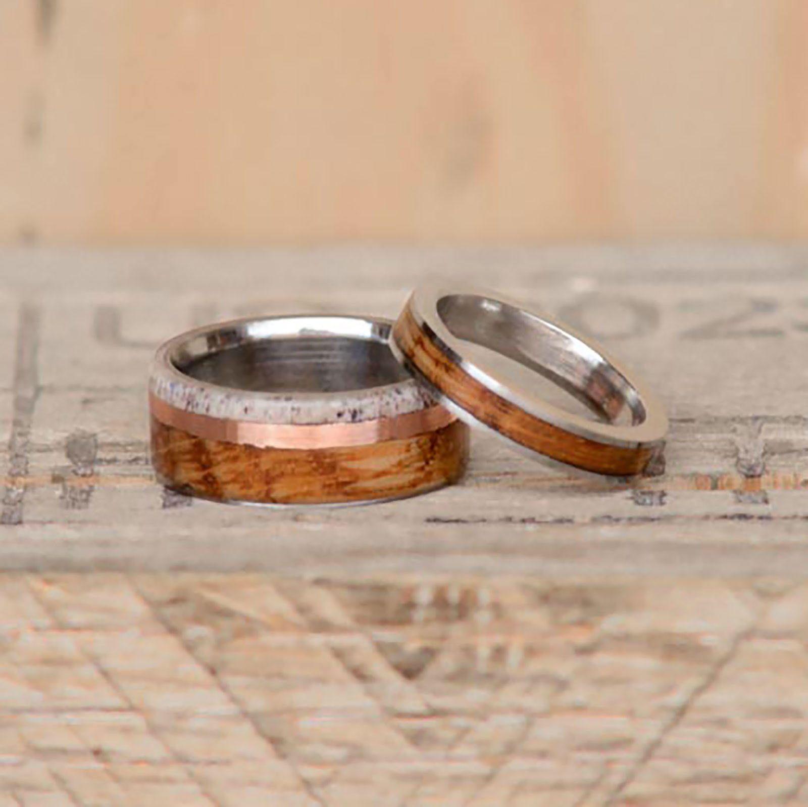 MenWomens Wedding Ring Set Jack Daniels Barrel Stave Wood and Elk