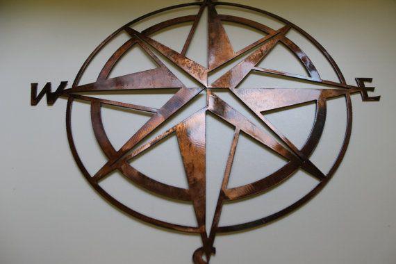 Nautical Compass Rose Wall Art Metal Decor By Heavensgatemetalwork