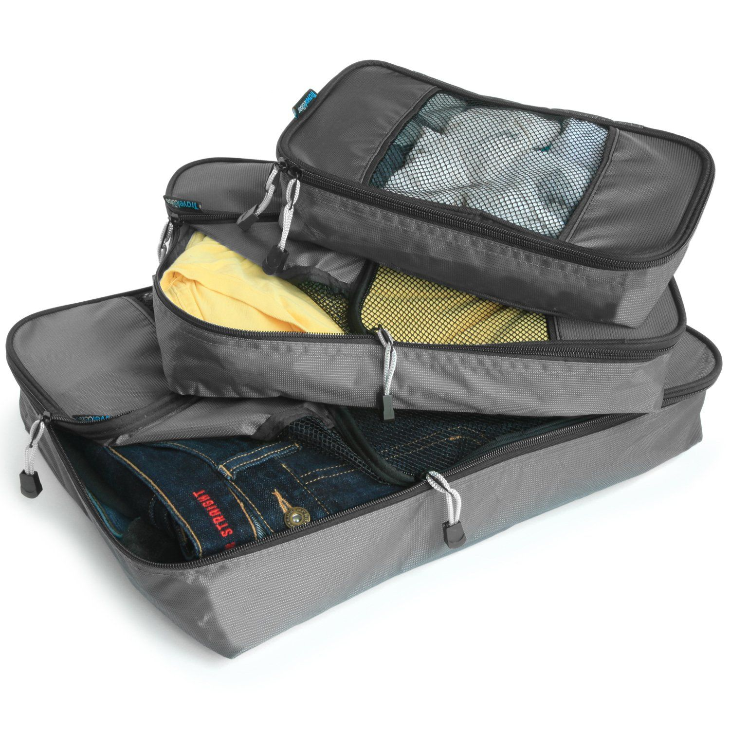 Durable 3 Piece Weekender Luggage Organizer Set TravelWise Packing Cube System