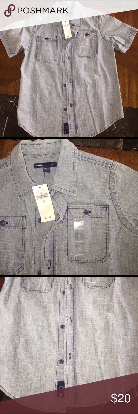 """GAP shirt (xs 4-5) ✨OPEN TO OFFERS, JUST SUBMIT YOUR BEST OFFER THROUGH THE """"OFFER"""" option OR BUNDLE FOR A DISCOUNT & ONE SHIPPING COST 😃✨.    ⭐️NWT ⭐️Gap button up shirt for boys, size XS 4-5. Denim look. GAP Shirts & Tops Button Down Shirts"""