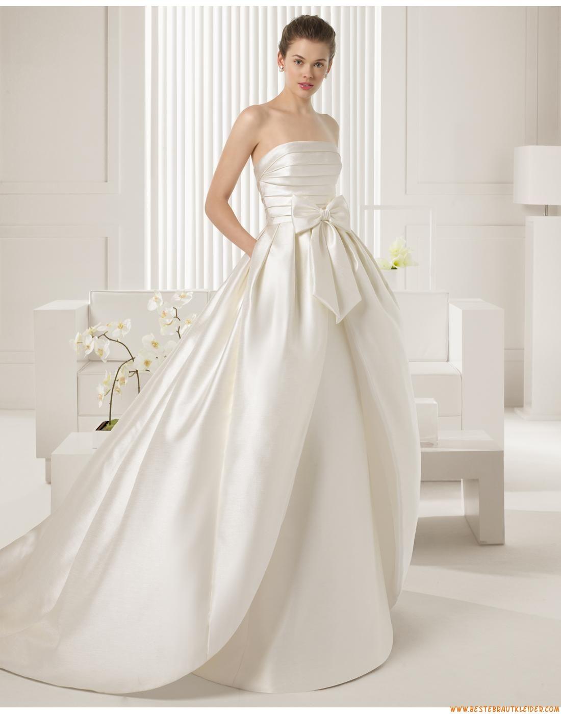 Besondere Ausgefallene Schlichte Brautkleider aus Taft mit