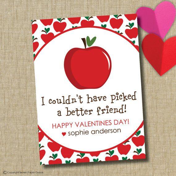 School Valentine cards personalized valentine card apple