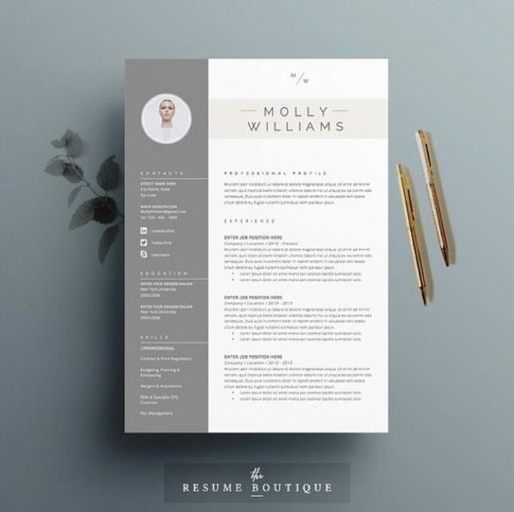 Resume template  cover letter by p_curt on Creative Market DESIGN