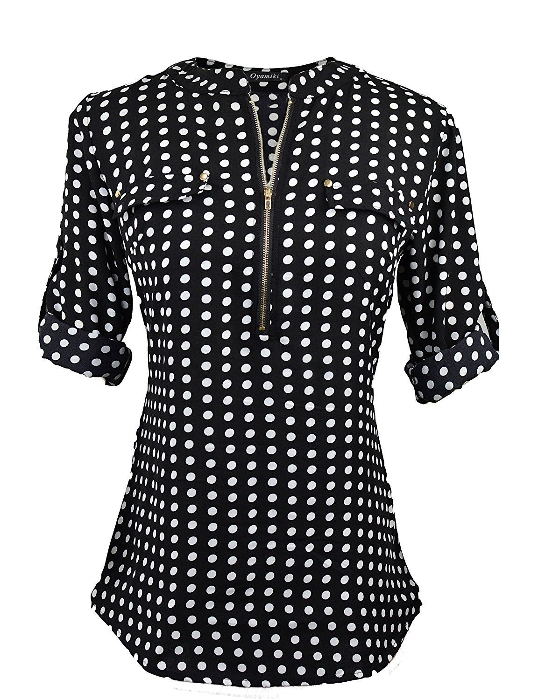 f8a95802 Women Casual V-Neck Long Sleeve Zip Up Shirt Chiffon Polka Dot Blouse Top -  Black - CE187NQ9290,Women's Clothing, Tops & Tees, Blouses & Button-Down  Shirts ...