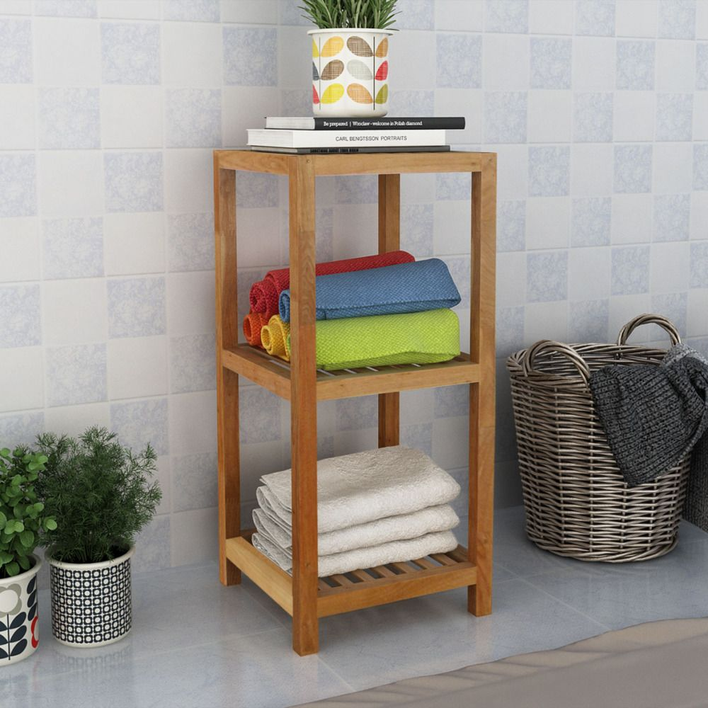 Storage for hallway  Walnut Bathroom Shelf Solid Wood Rack  Tier Furniture Hall Hallway