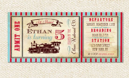 Train Ticket Invitations, Train birthday invitations Ticket - ticket invitation