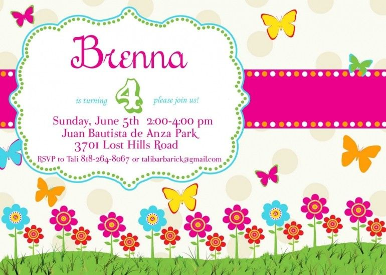1st Birthday Cards Butterfly Party Invitations Kids Invitation Card Template