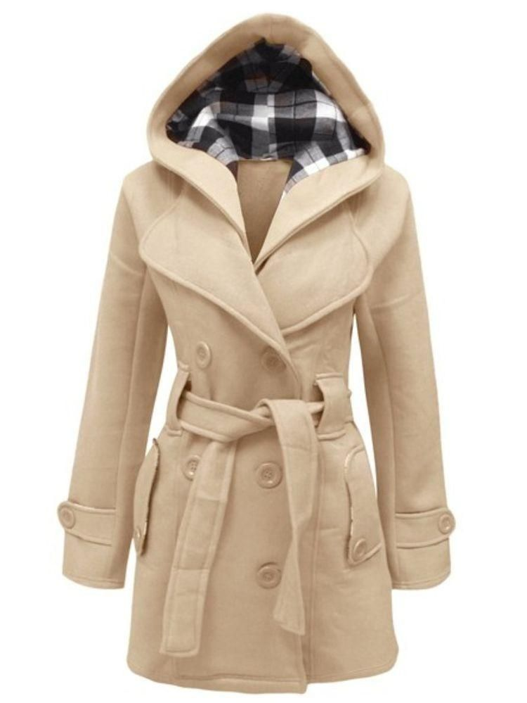Details about Ladies Wool Cashmere Coat Womens Jacket Double Breasted Belt Checked Trench New