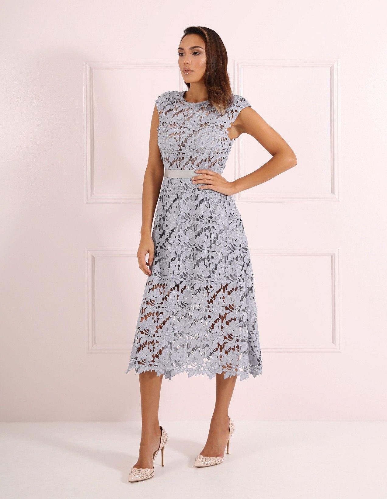 Laila Grey Flowing Lace Midi Dress Wedding Guest Dresses All Forever Unique