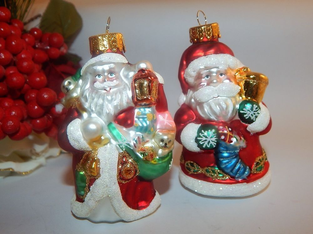 Santa Ornaments Art Glass Christmas Tree Decorations Set of 2 in