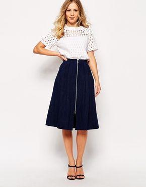 fashion brand new wholesale outlet Whistles Denim Zip Through Midi Skirt | Cover up | Midi Skirt ...