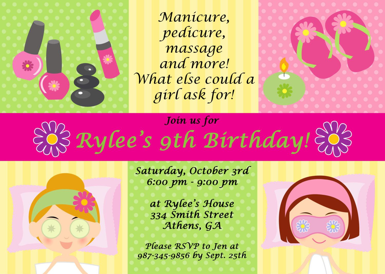 Printable Spa Party Invitations   Spa at Home   Pinterest   Spa ...