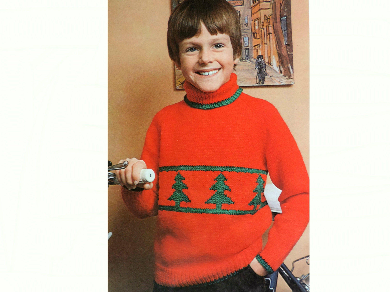 Childrens Christmas Sweater, Knitting Pattern PDF, Girls ...