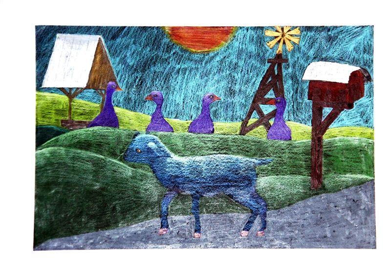 Colored pencil, 5th grader, blue ribbon winner, Houston