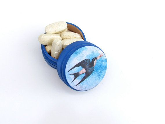 Blue Sparrow Bird with Love Letter Pill Box - Blue Swallow Pharmacy - pharmacy letter