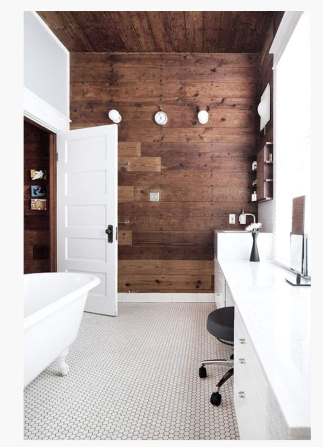 White bathroom with wood accent wall and penny tile floor also best bliss images on pinterest bathrooms