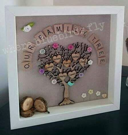 This Personalised Family Tree Frame With Log Pile And Flowers Is The Perfect Display Piece For Your Home Family Tree Project Family Tree Frame Family Trees Diy