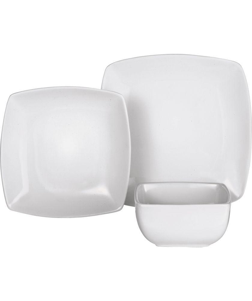 Buy 12 Piece Bosa Square Stoneware Dinner Set - White at ...