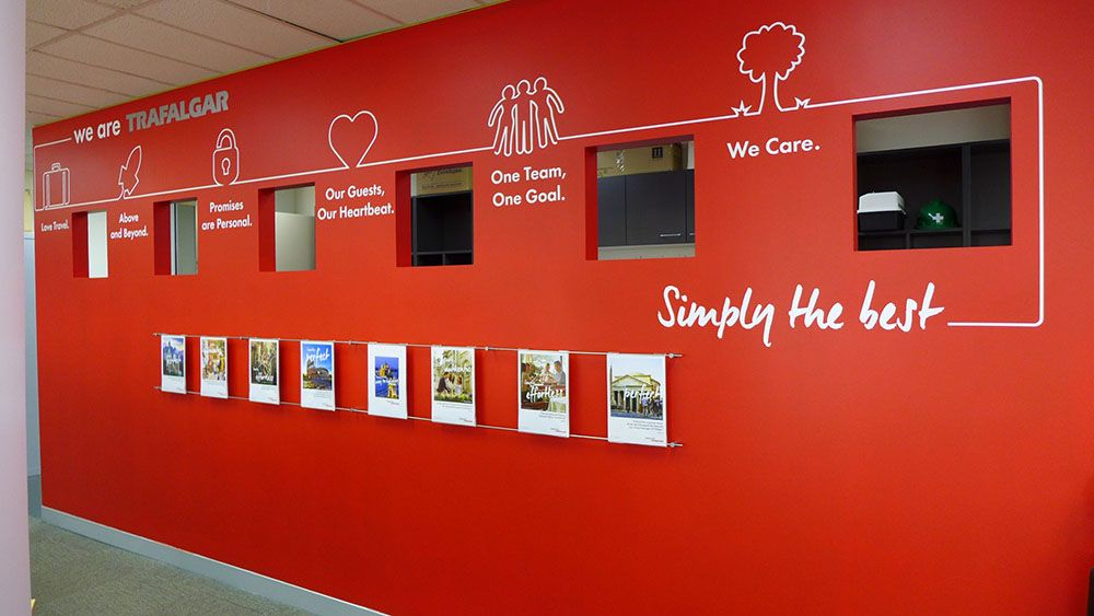 Vinyl cut lettering and acrylic holder combination for Office branding ideas