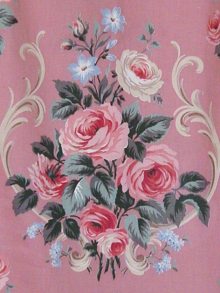 Vintage Pink Barkcloth Era Roses Curtain Upholstery Fabric 40 Yards