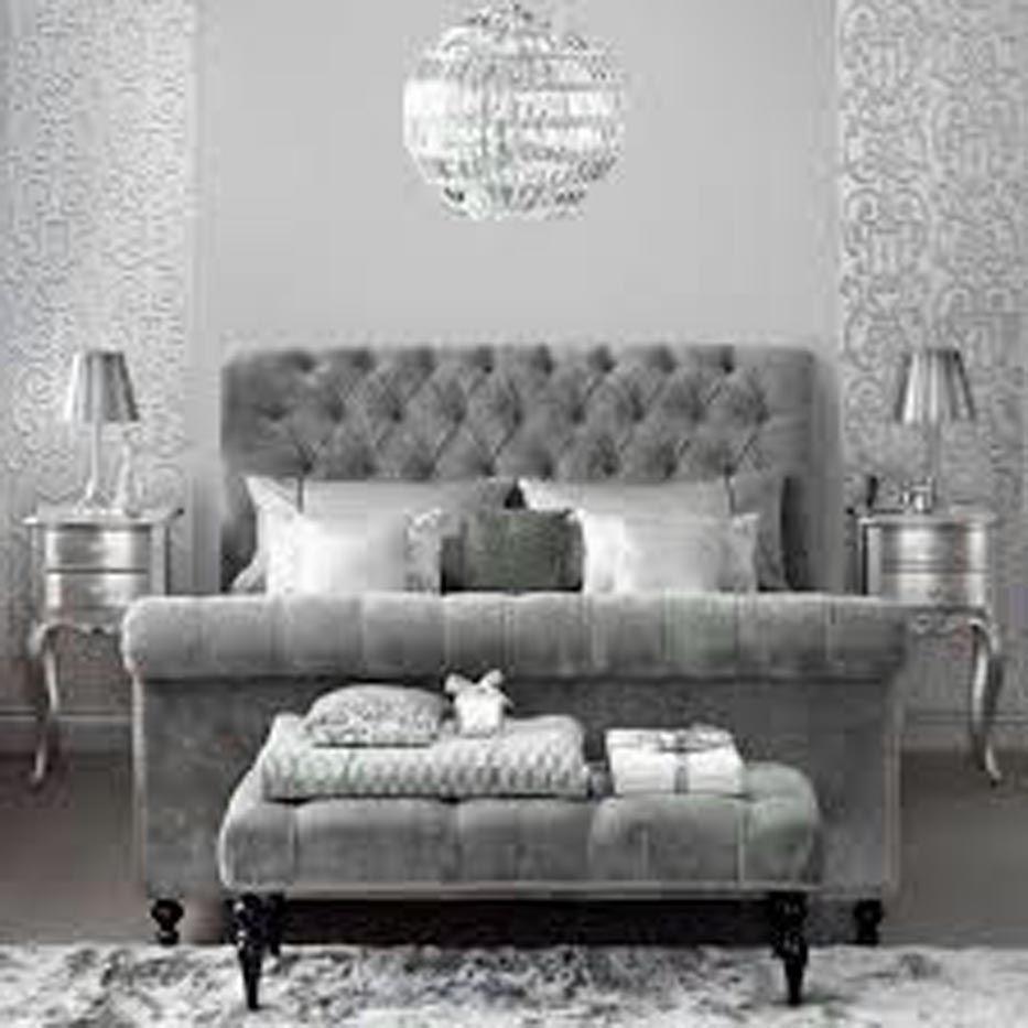 Dove Gray Home Decor Velvet Tufted Grey Bed Silver Bedroom