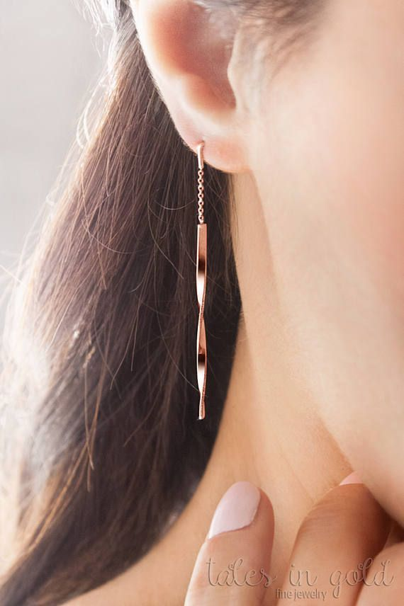 Photo of Rose Gold Long Earrings, Curved Earrings, 14K Gold Earrings, Rose Gold, Unique Gold Earrings, Rose Bar Earrings, Wave Earrings, Twisted Bars