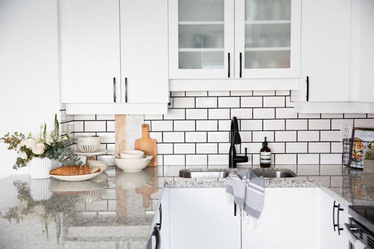 Stephanie Sterjovski S Black And White Dream Space White Subway Tiles Kitchen Interior White Kitchen Tiles