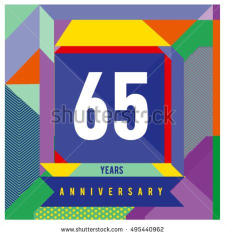 65th years greeting card anniversary with colorful number and frame 65th years greeting card anniversary with colorful number and frame logo and icon with memphis m4hsunfo