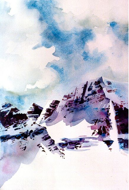 Mountain Watercolor Painting Athabasca Valley Rocky Mountains