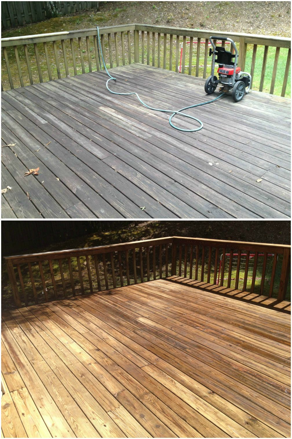 Before and after pressure cleaning a wood deck looks nice