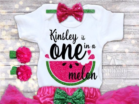 194fc8c42 Watermelon Birthday Outfit, Personalized Birthday Outfit, Watermelon 1st  Birthday, One in a Melon, M