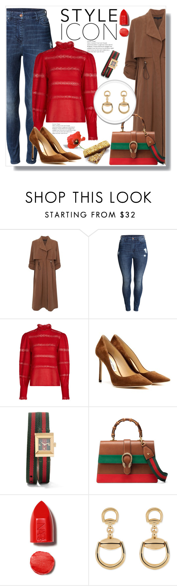 """Gucci Bamboo Leather Tote"" by queenvirgo ❤ liked on Polyvore featuring French Connection, H&M, Étoile Isabel Marant, Jimmy Choo, Gucci and NARS Cosmetics"