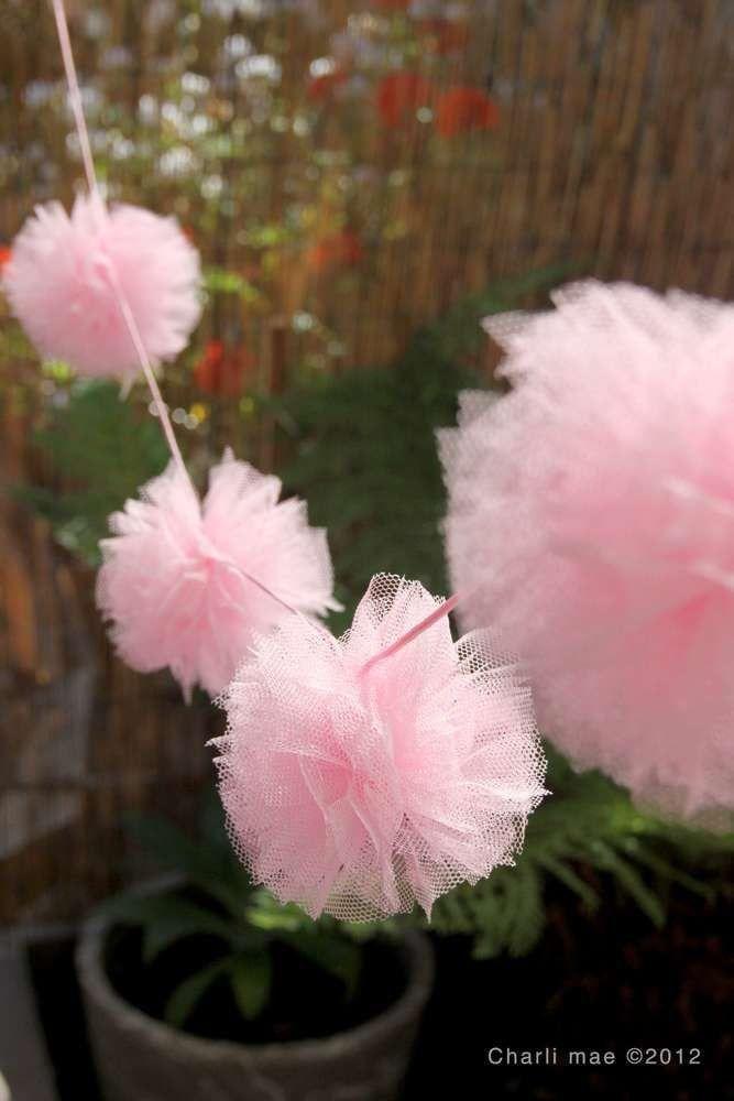 Pink Tulle Ball Banner/ Ballerina Birthday Party Decor/ Tutu Banner/ Ballerina Party / Tulle Banner