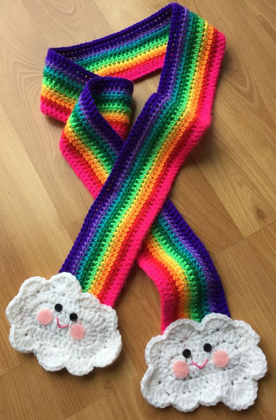 Happy Rainbow Scarf Rainbow and Clouds Scarf READY TO by InChains