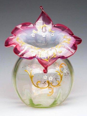 Decorated slightly opalescent rubina verde (uranium) rib optic ... on multicolor vase, translucent vase, metallic vase, jade vase, stevens & williams vase, elegant vase, victorian vase, lavender vase, hobnail vase, antique vase, cream vase, fluted vase, cameo vase, pyrex vase, loetz vase, pink vase, cobalt vase, ivory vase, textured vase, white vase,