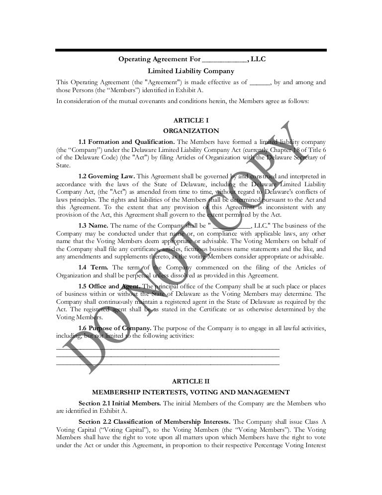 Sample Operating Agreement Wbenc Certification Sample Documents