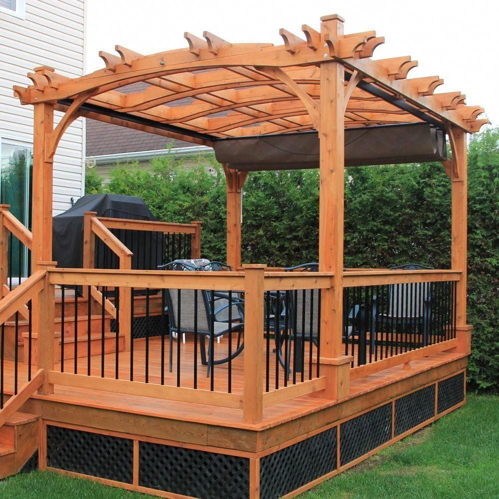 Outdoor Living Today 10 Ft X 12 Ft Arched Breeze Cedar Pergola With Retractable Canopy Bz1012archwrc The Home Depot In 2020 Outdoor Pergola Backyard Pergola Pergola Patio