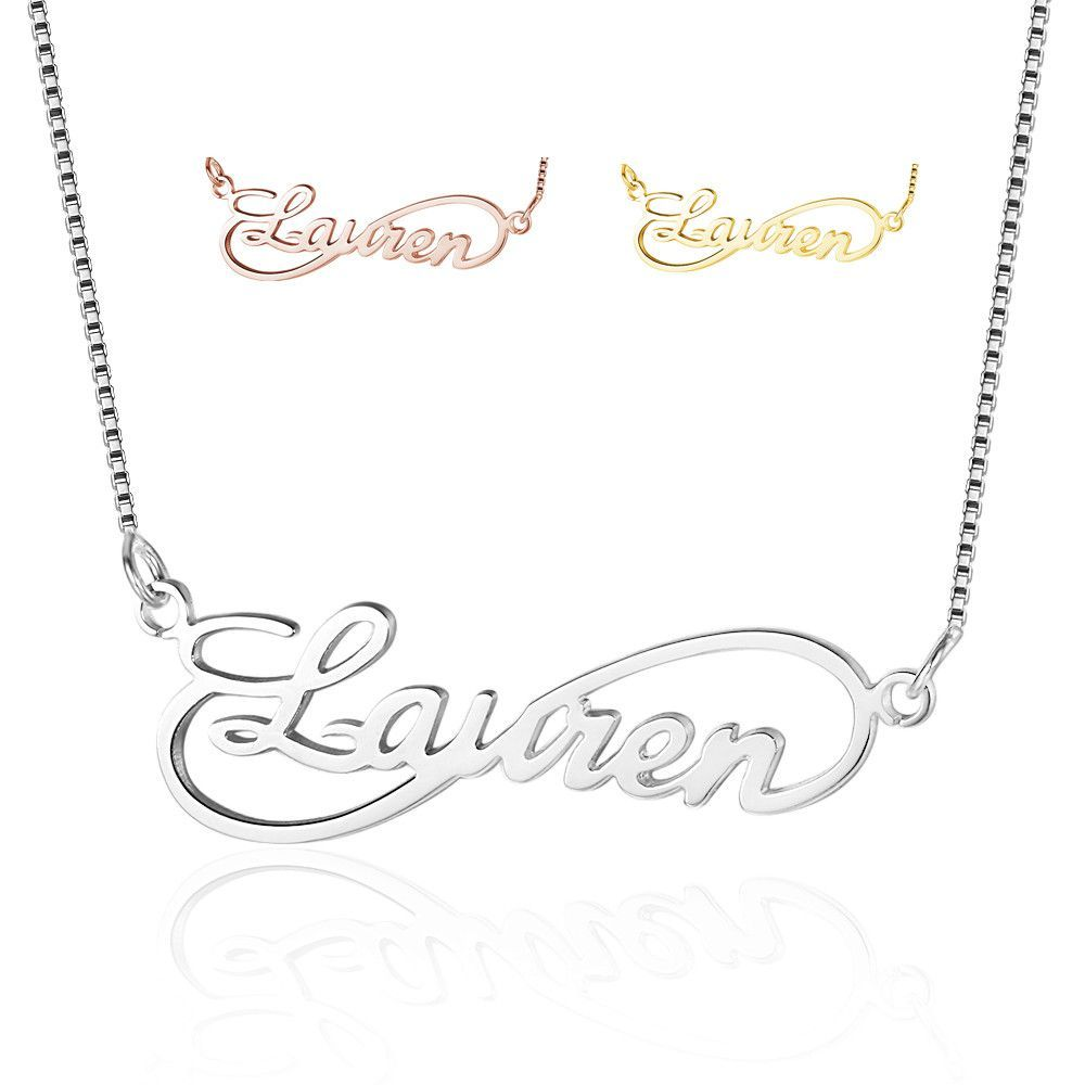 Personalized Sterling Silver Infinity Name Necklace Sparkle Jade