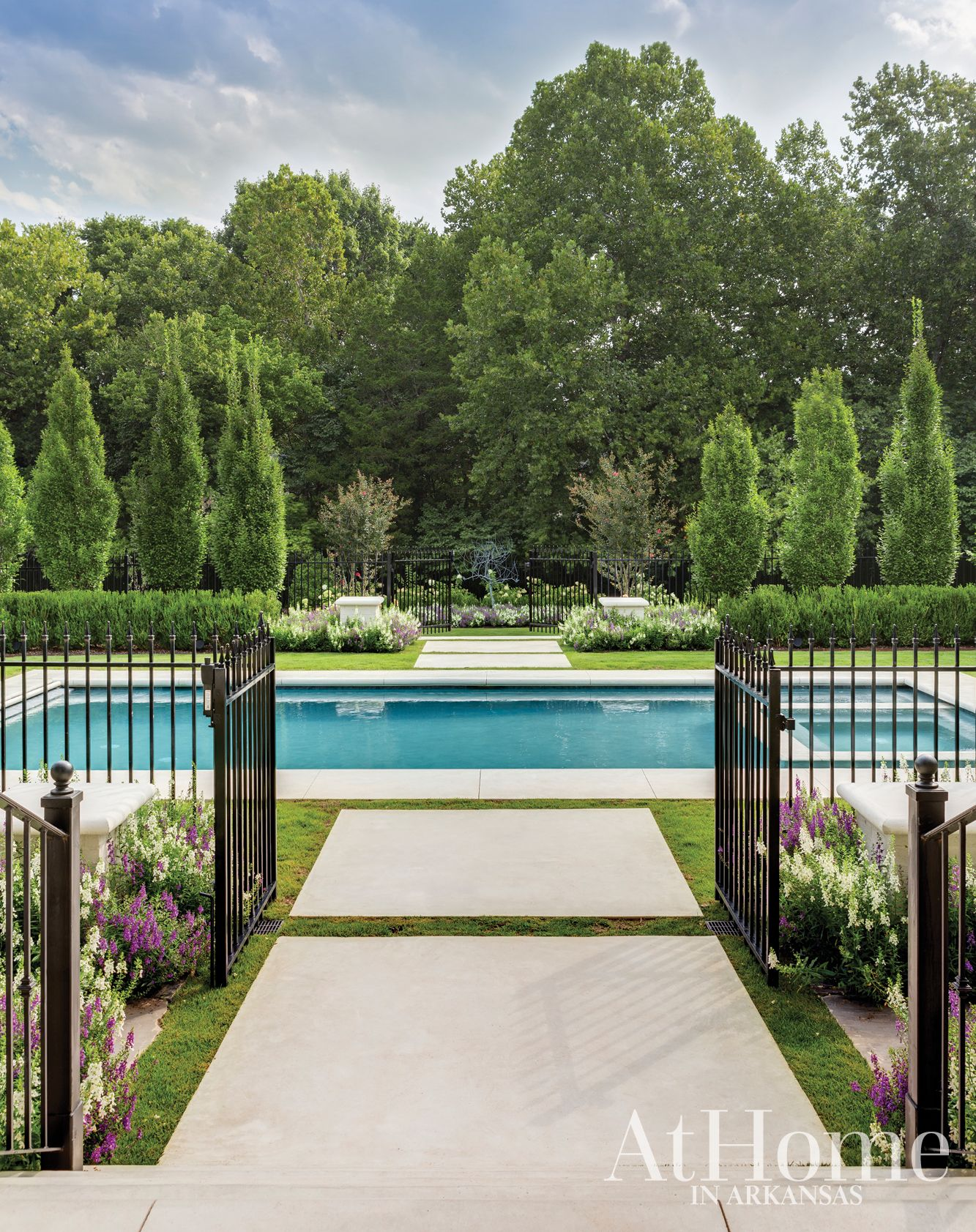 An Elegant Escape At Home In Arkansas Pool Landscaping Pool Fencing Landscaping Backyard Pool Landscaping