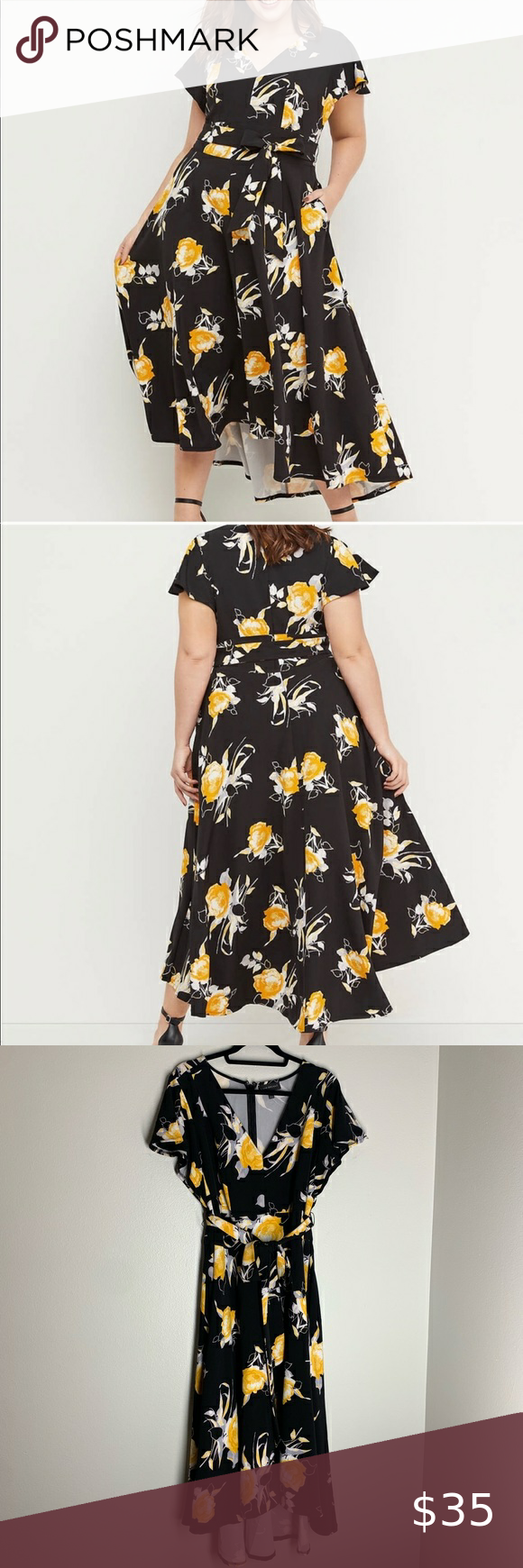 Lane Bryant Lena Floral Dress V Neck Belted Midi Floral Dress Lane Bryant Dresses Lane Bryant [ 1740 x 580 Pixel ]