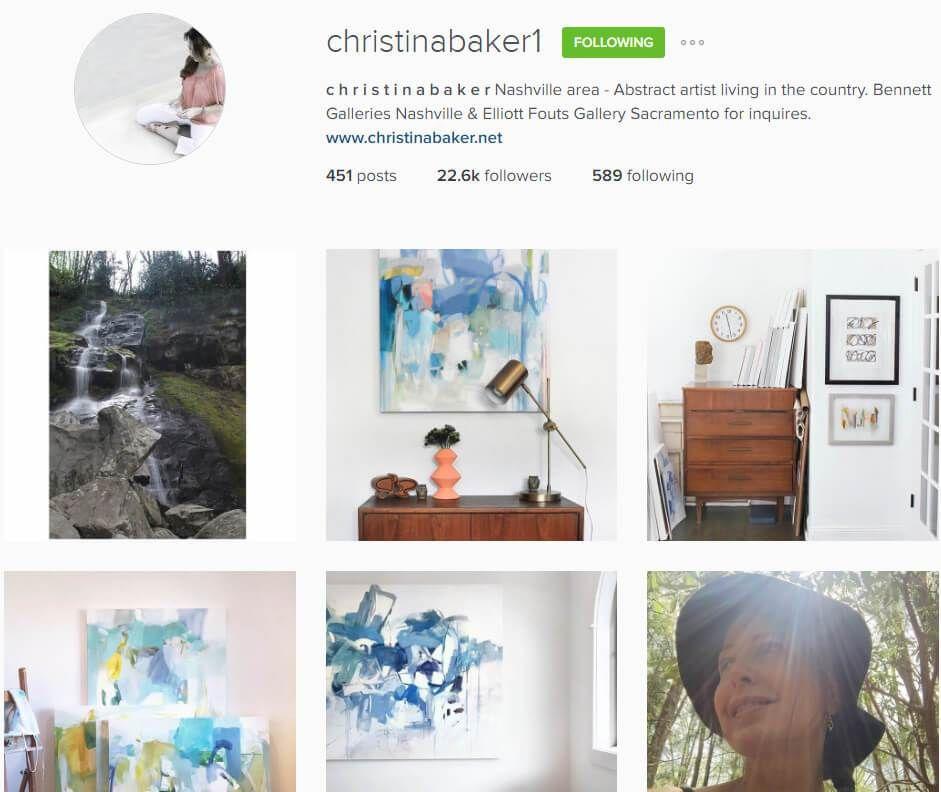 Artist Christina Baker S Instagram Bio Instagram Artist Instagram Bio