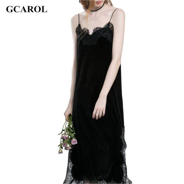 GCAROL Women Velvet Lace Spliced Straps Dress Euro Style  Vintage Sexy Basic Long Dress 2 Colors For 4 Season