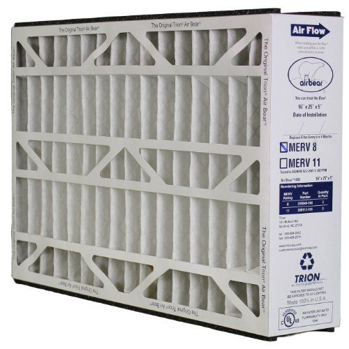 Trion Air Bear 255649105 Pleated Furnace Air Filter 16x25x5 Merv 8