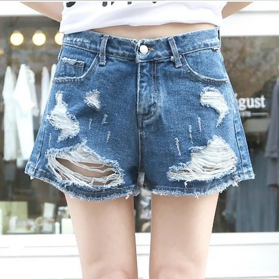 High Waist Ripped Hole Wide Leg Denim Shorts | Shorts, Products ...