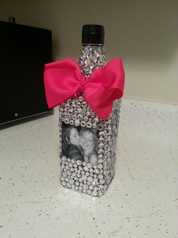 Gift Idea Bedazzled Alcohol Bottle Printed Picture Hot Glued Over Magnificent Decorated Alcohol Bottles For Birthday