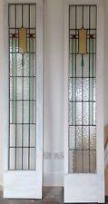 Stained Glass Leaded Art Deco 1930s Wooden Antique Door Panels