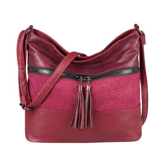 OBC bolso de mujer shopper bandolera bandolera bolso de cuero con aspecto cruzado bolso de mano bolso vagabundo Bordo